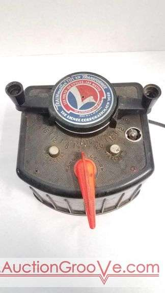 TRAINmaster type K-W Transformer. 115 volts, 60 Cycles, 190 Watts. Made in United States of America by the Lionel Corporation. New York. Plugged in and the motor hummed.