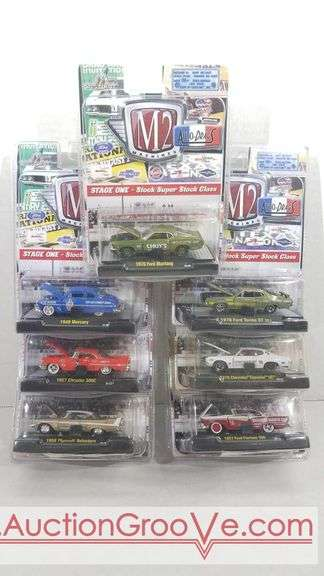 7 M2 auto drags die cast cars new in package. 1970 Ford Mustang, 1949 Mercury, 1957 Chrysler 300C, 1958 Plymouth Belvedere, 1970 Ford Torino GT 351, 1970 Chevrolet Chevelle SS, 1957 Ford Fairlane 500.