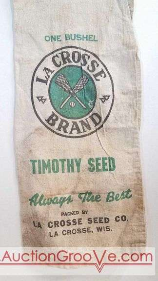 La Crosse Brand Timothy Seed Bag. Packed by La Crosse Seed Company La Crosse Wisconsin. 30 x 13