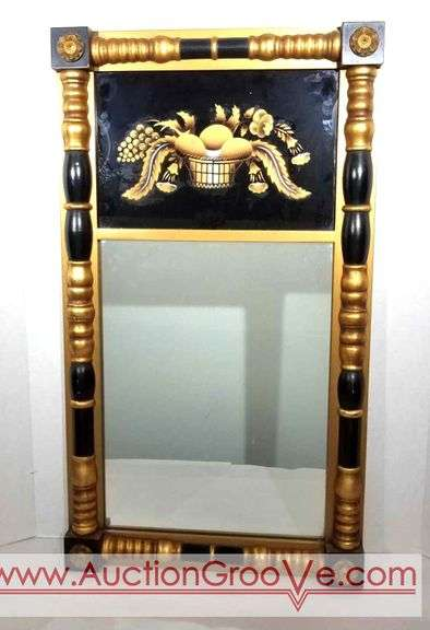 """LAMBERT HITCHHCOCK RARE ANTIQUE EGG BASKET MIRROR WITH LABEL BLACK & GOLD FRAME 30 1/2"""" by 17 1/2""""Cl"""