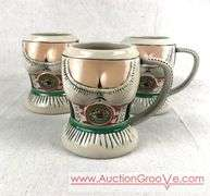 Trio of LACROSSE OKTOBERFEST POTTERY BEER STEINS! Made in Germany by Gerz Circa 2008