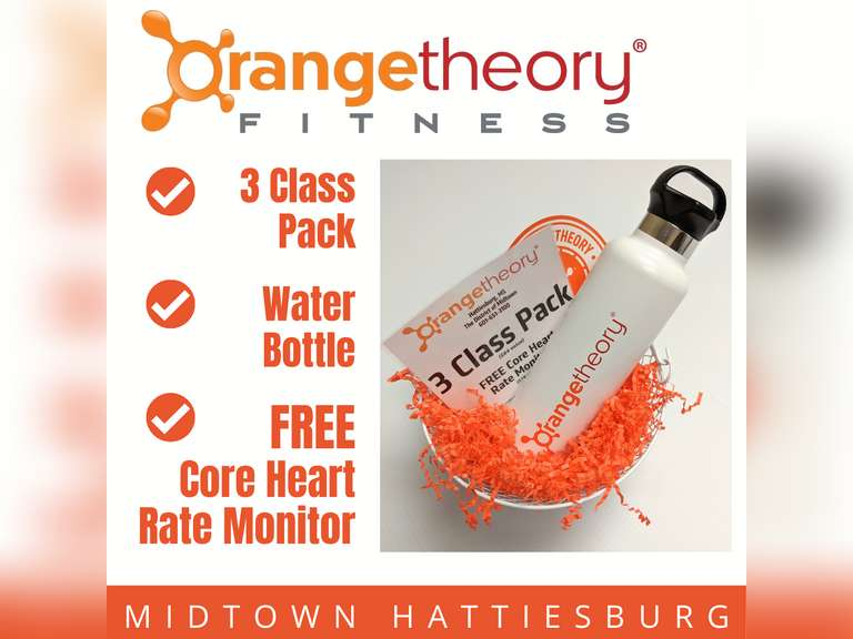 ORANGE THEORY 3-CLASS PACK WITH FREE CORE HEART RATE MONITOR