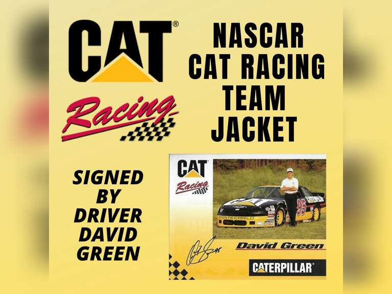 CAT NASCAR RACING TEAM JACKET SIGNED BY DRIVER DAVID GREEN.