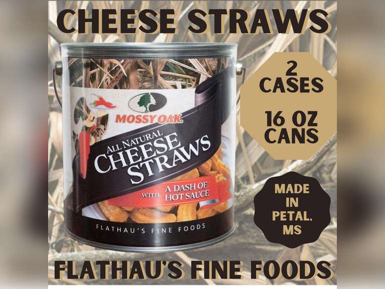 MOSSY OAK GOURMET CHEESE STRAWS, 2 CASES