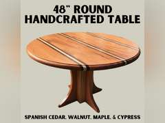 "48"" ROUND TABLE MADE OF SPANISH CEDAR, WALNUT, MAPLE, & CYPRESS"