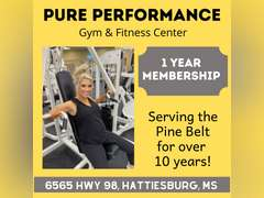 1 YEAR MEMBERSHIP - PURE PERFORMANCE GYM & FITNESS, HATTIESBURG, MS