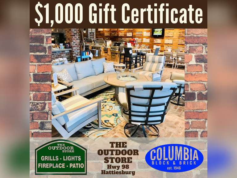 1,000 GIFT CERTIFICATE - THE OUTDOOR STORE