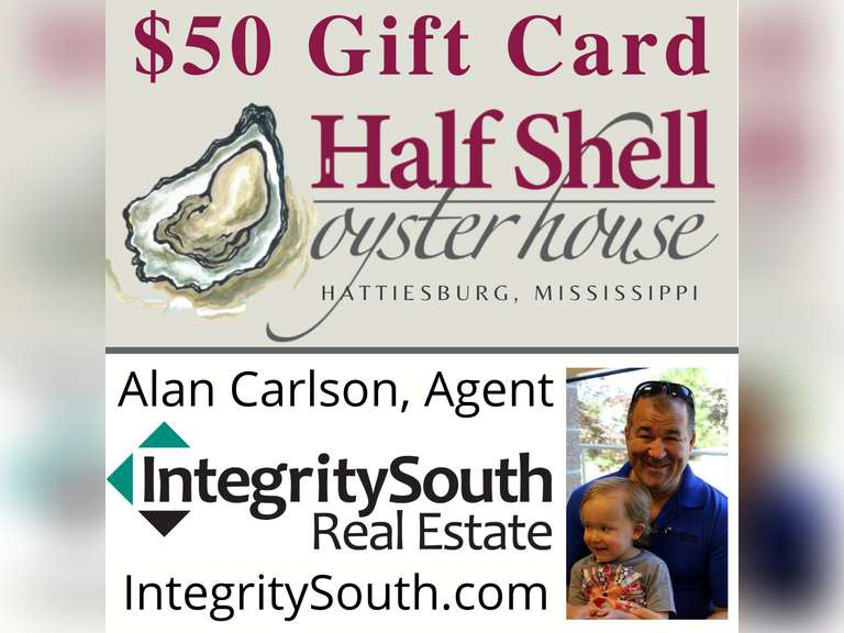 $50 GIFT CARD - HALF SHELL OYSTER HOUSE, HATTIESBURG