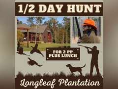 1/2 DAY HUNT FOR 2 PLUS LUNCH - LONGLEAF PLANTATION, PURVIS, MS