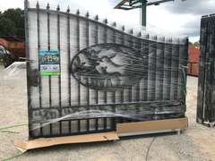 (UNUSED) GEATBEAR 20' BI-PARTING DEER DESIGN WROUGHT IRON GATE