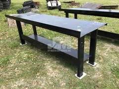 """STEEL SHOP TABLE W/ BOTTOM SHELF, 29 1/2"""" X 90"""""""