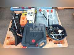 PALLET W/ CAR JACKS, OIL COLLECTION PAN, DENT REMOVER TOOLS