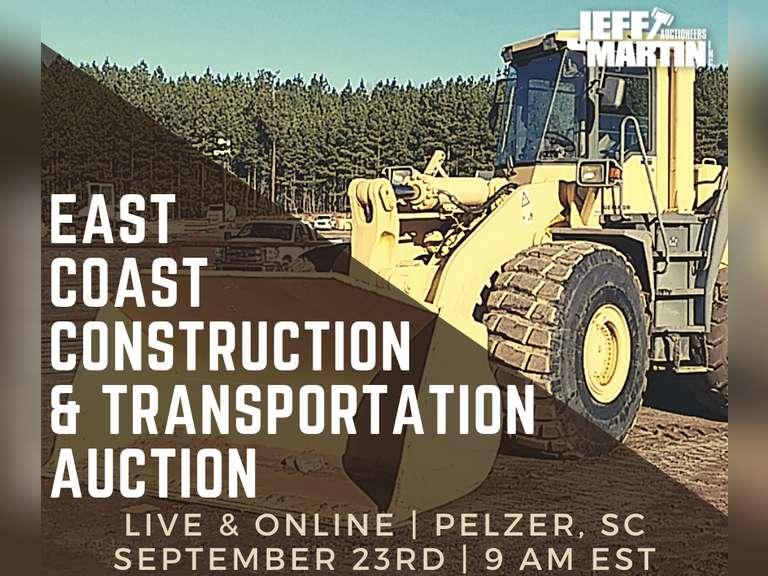 FALL EAST COAST CONST & TRANSPORTATION AUCTION - SEPT 23, 9 AM EST