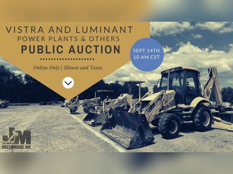 ONLINE ONLY AUCTION FOR VISTRA/LUMINANT POWER PLANTS & OTHERS - BIDDING STARTS SEPTEMBER 8TH  @ 10 AM CST