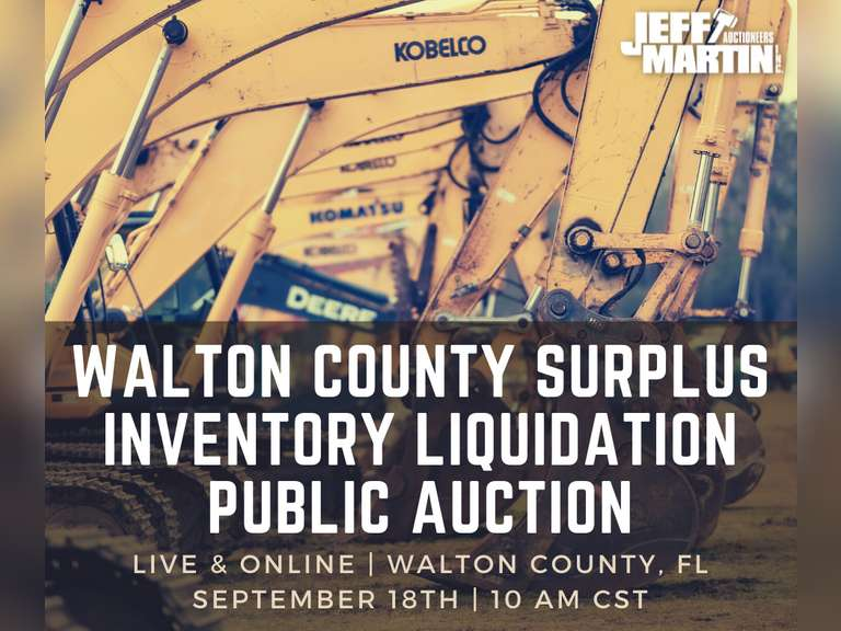 WALTON COUNTY, FLORIDA SURPLUS INVENTORY LIQUIDATION PUBLIC AUCTION  SEPT. 18, 2021 10 A.M. CST