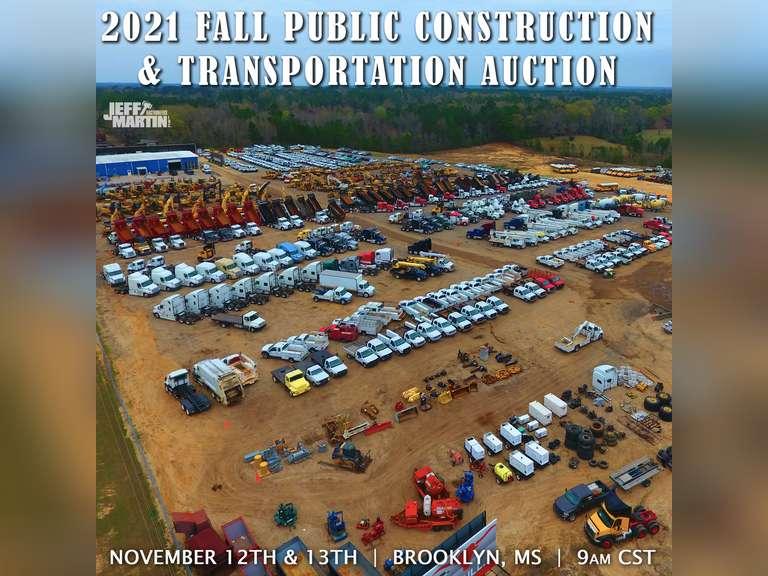 2021 FALL PUBLIC CONSTRUCTION & TRANSPORTATION AUCTION- NOVEMBER 12 & 13 @ 9:00 AM CST