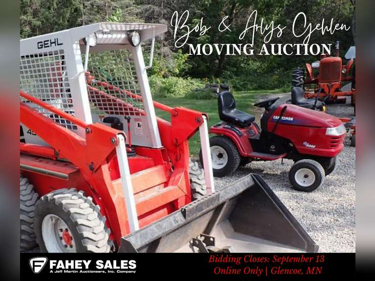 FAHEY SALES- ONLINE ONLY BOB & ARLYS GEHLEN MOVING AUCTION- BIDDING CLOSES SEPTEMBER 13TH @ 6 PM CST