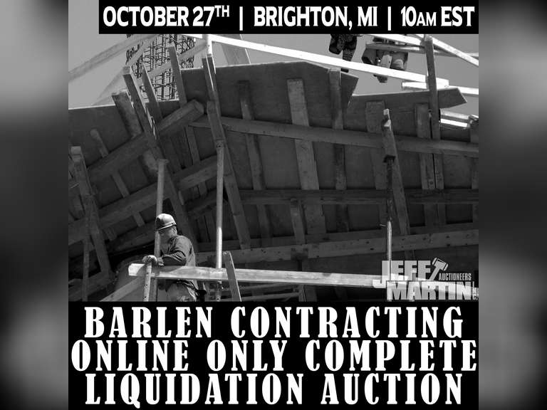 BARLEN CONTRACTING ONLINE ONLY COMPLETE LIQUIDATION AUCTION- BIDDING CLOSES OCTOBER 27TH @ 10 AM EST