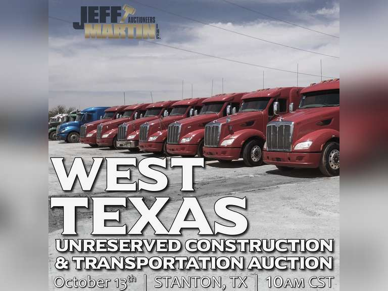 FALL WEST TEXAS UNRESERVED CONSTRUCTION & TRANSPORTATION AUCTION- OCTOBER 13, 10:00 CENTRAL