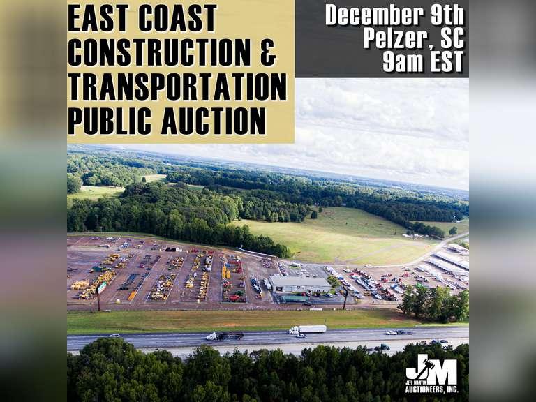 EAST COAST CONSTRUCTION & TRANSPORTATION PUBLIC AUCTION - DECEMBER 9TH @ 9 AM EST