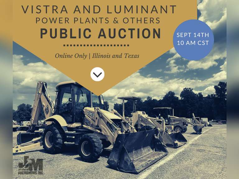 ONLINE AUCTION FOR VISTRA/LUMINANT POWER PLANTS & OTHERS- BIDDING STARTS SEPTEMBER 8TH @ 10 AM CST