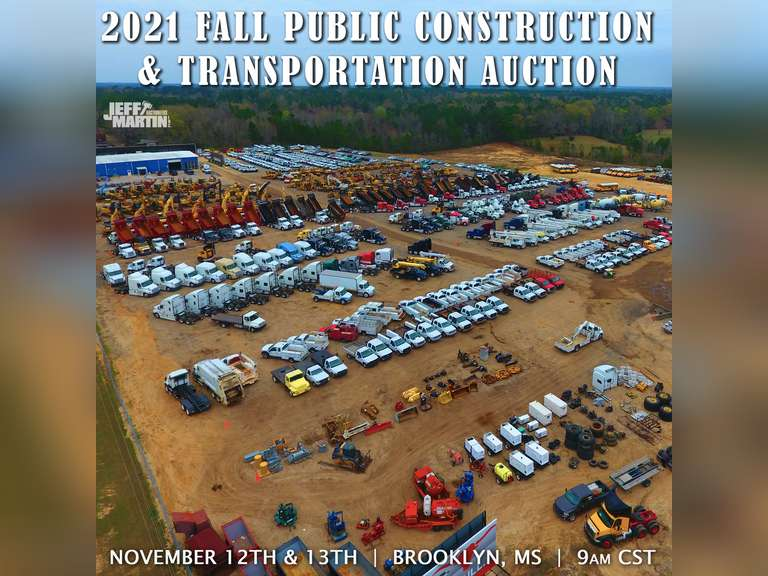 2021 FALL PUBLIC CONSTRUCTION & TRANSPORTATION AUCTION- NOVEMBER 12 & 13, 2021 9:00 A.M.