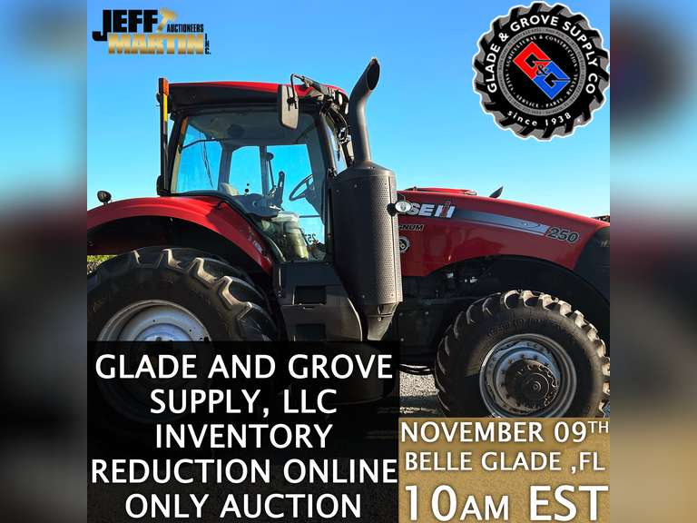 GLADE AND GROVE SUPPLY, LLC INVENTORY REDUCTION ONLINE ONLY AUCTION- BIDDING CLOSES NOVEMBER 9TH @ 10 AM EST