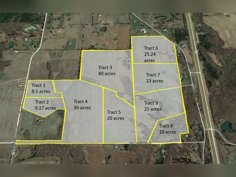 Boone County- 203 Acres offered in 9 Separate Tracts