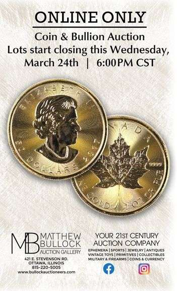 Proxibid Online Only Coin & Currency Auction