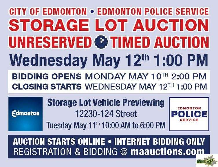 May 12th City of Edmonton Impound Auction