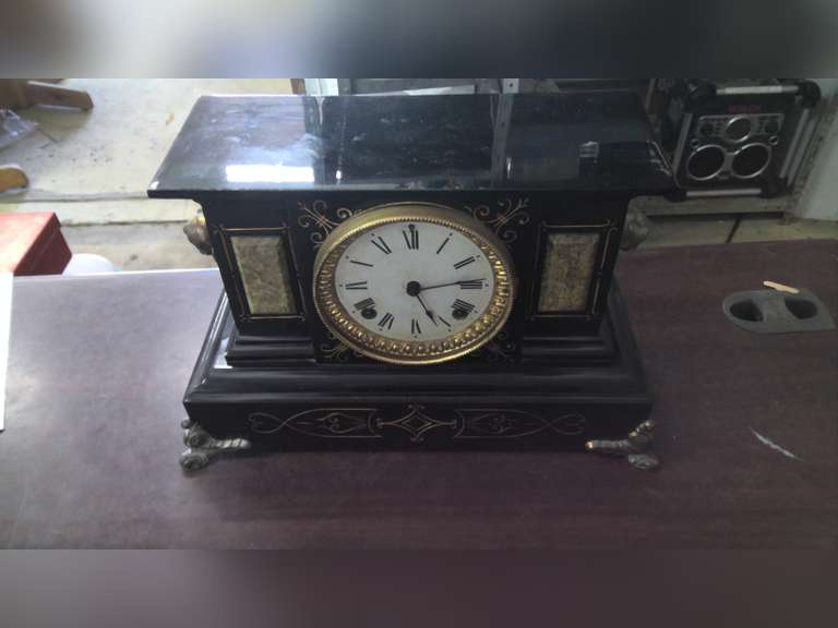 ANTIQUE MANTLE CLOCK, END TABLES, ANTIQUES, COLLECTIBLES, ROOM DECOR, & MISC HOUSEHOLD