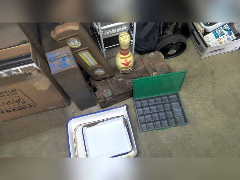 VINTAGE ARMY AMMO CRATE, COLLECTIBLES & HOUSEHOLD MISC