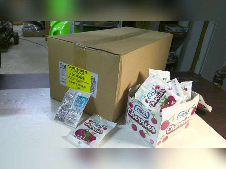 CASES OF VIDAL CHERRIES CANDY, 12 BOXES TO A CASE, $1.00 STARTS BID