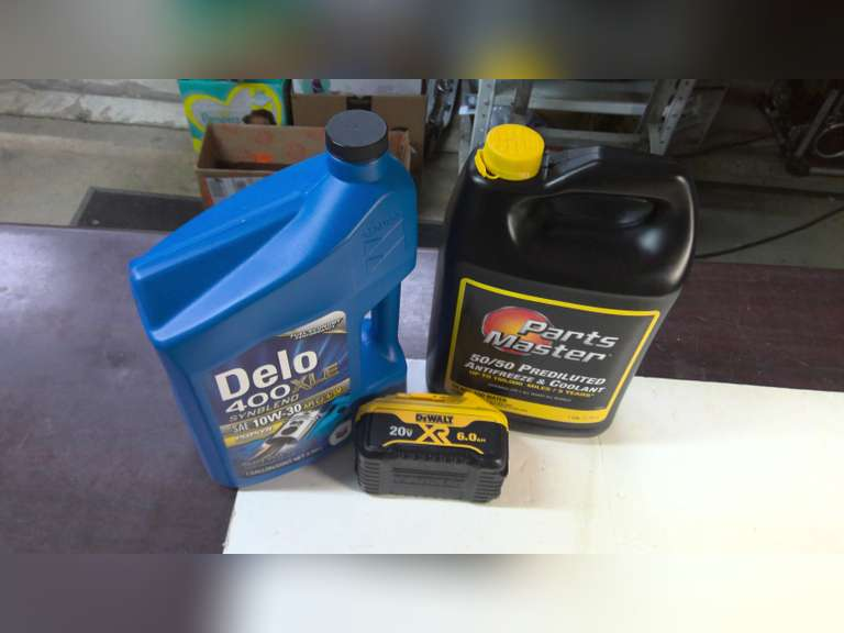 DEWALT 20V BATTERY, GALLONS OF NEW OIL AND GALLONS OF NEW ANTIFREEZE