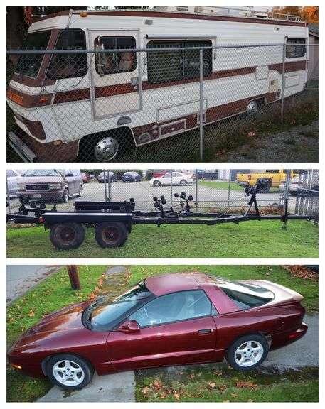 1994 Pontiac Firebird Formula, 1986 Allegro Motorhome 27', 1986 BOAT TRAILER 28'