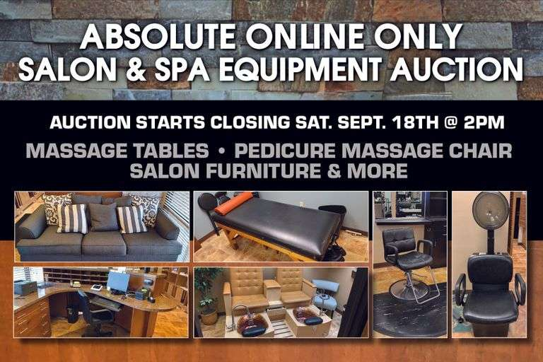 Absolute Online Only Salon & Spa Equipment Auction