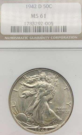 1942 D NCG MS61 Walking Liberty Half Dollar