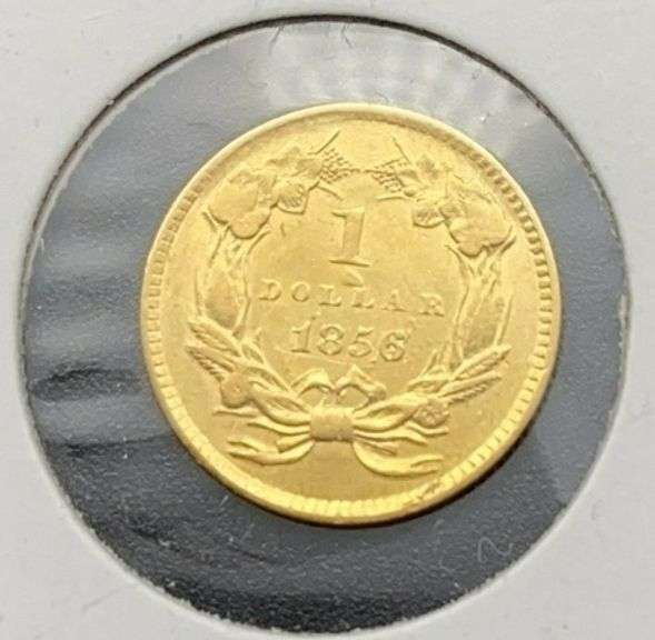 1856 XF Large Head $1 Gold Coin