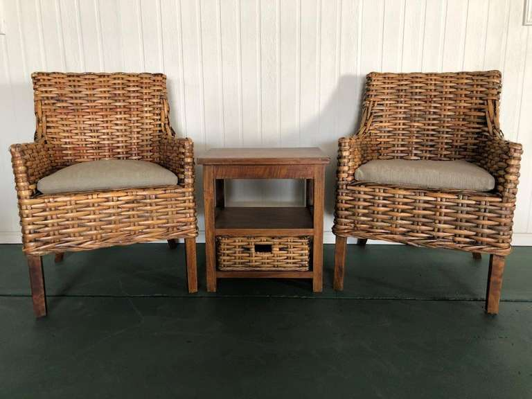 2 x Single Cane Chair, Side Table and lap table