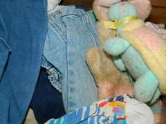 Box of Kid's Clothing, Package of Cloth Diapers, Stuffed Animals
