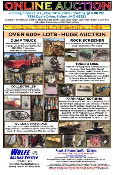Online Auction - Personal Property of Frank & Karen Wolfe