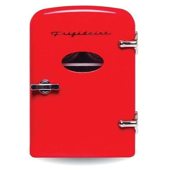 FRIGIDAIRE 9-CAN MINI RETRO BEVERAGE FRIDGE - RED